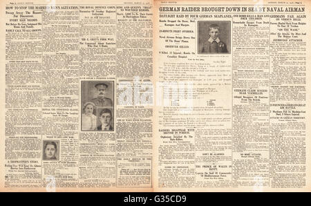 1916 Daily Sketch pages 2 & 3 German bombing raid over Kent - Stock Photo