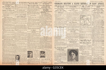 1916 Daily Sketch pages 2 & 3 German troops retreat in East Africa, Gibson Bowles and the Market Harborough by-election - Stock Photo
