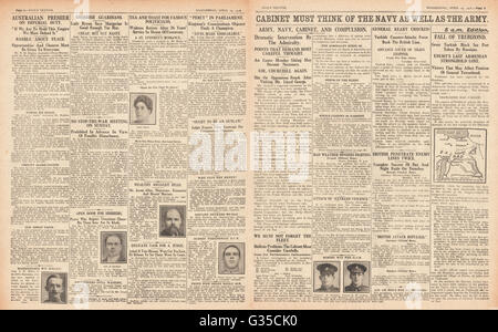 1916 Daily Sketch pages 2 & 3  Recruitment debate by British government and fall of Trebizond - Stock Photo