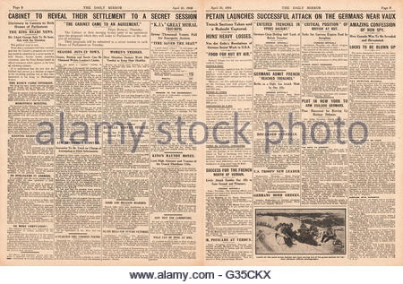 1916 Daily Mirror pages 2 & 3 Stuart Coates wins the Wimbledon by-election and General Petain launches successful - Stock Photo