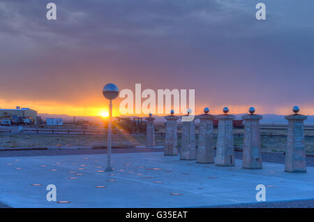 Sun Dial at the Very Large Array-National Radio Astronomy Observatory, New Mexico, USA. - Stock Photo
