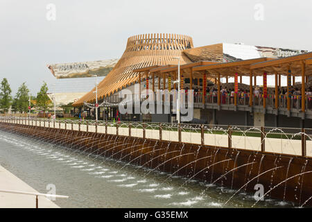 MILAN, ITALY - JUNE 29 2015: Lateral view of Thailand Pavilion at Expo 2015, universal exhibition on the theme of - Stock Photo