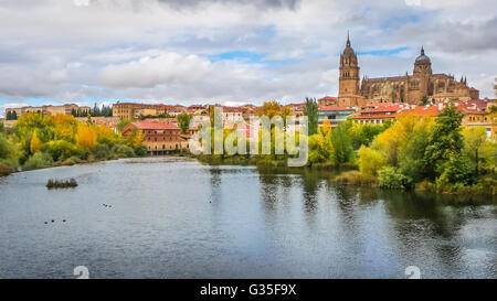 Beautiful panoramic view of the historic city of Salamanca with Rio Tormes and New Cathedral from Enrique Esteban - Stock Photo