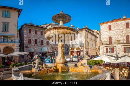 Beautiful panoramic view of famous Piazza del Comune with historic fountain figuring three lions and ancient palaces - Stock Photo
