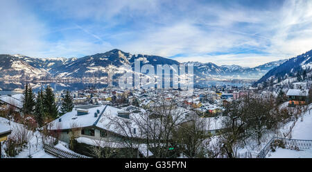 Winter wonderland in the Alps with beautiful mountain landscape and famous Zeller Lake in Zell am See, Salzburger - Stock Photo