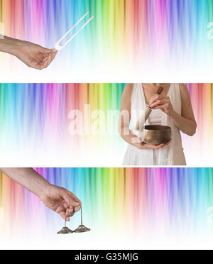 Wide rainbow colored graduated linear background with tuning fork, Tibetan seven metal singing bowl and Ting Sha - Stock Photo