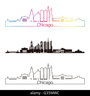 Chicago skyline linear style with rainbow in editable vector file - Stock Photo