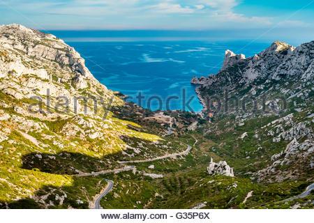 Calanque de Sormiou, Parc national des Calanques, Bouches-du-Rhône, Provence-Alpes-Côte d'Azur, France - Stock Photo