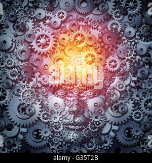 Human resource intelligence business concept as a mind and face machine made of gears and cogs as a technology or - Stock Photo