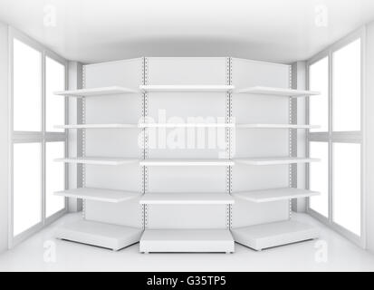 Retail shelves for samples product in blank room - Stock Photo