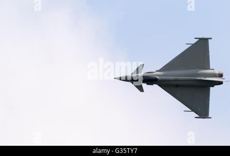 An RAF Eurofighter Typhoon FGR4 aircraft in flight, view from above, Duxford airport, Cambridge UK - Stock Photo