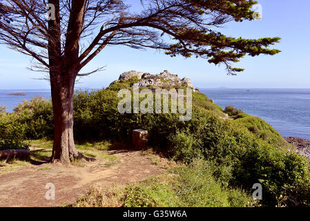 Pointe du château of Trestrignel near Perros-Guirec, a commune in the Côtes-d'Armor department in Brittany northwestern - Stock Photo