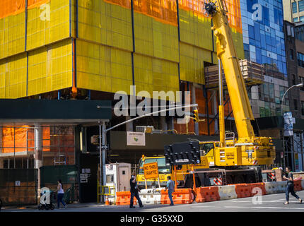 Construction on the site of a former gas station along the High Line in West Chelsea in New York on Monday, June - Stock Photo