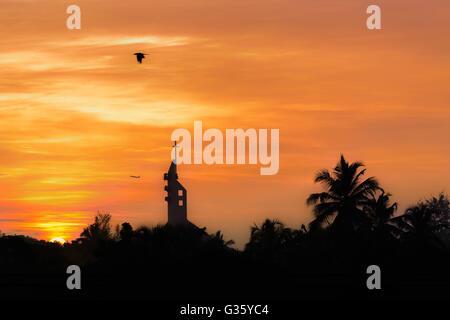 Sunrise, church, bird, airplane, sunset, palmtrees, romantic, Negombo, Sri lanka nature, wake up, early morning, - Stock Photo
