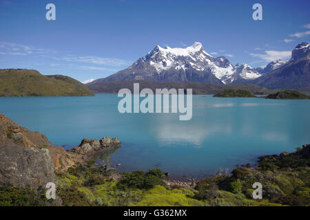 Lake Pehoe and Cerro Paine Grande, Torres del Paine National Park, Chile - Stock Photo