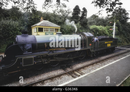 Urie S15 No. 506 at Medstead & Four Marks station. Mid-Hants Railway Watercress steam line. Hampshire. England. - Stock Photo