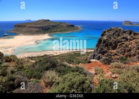Balos Bay, Gramvousa Peninsula, Western part of Crete, Greece - Stock Photo