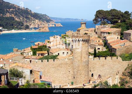 View on the historic part of Tossa de Mar. Costa Brava, Spain - Stock Photo