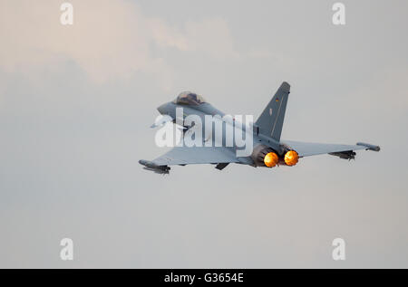 German Air Force Eurofighter Typhoon afterburner take off from Berlin-Schoneveld airport. - Stock Photo