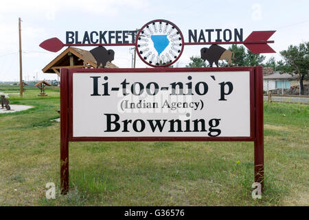 Blackfeet Nation sign at Browning, Montana. - Stock Photo