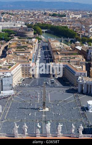 View from dome of St Peter's Cathedral, Vatican, Rome, Italy, Europe - Stock Photo