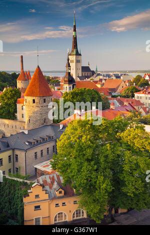 Tallinn. Image of Old Town Tallinn in Estonia during sunset. - Stock Photo