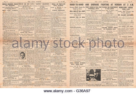 1916 Daily Mirror pages 2 & 3 Hand-to-hand fighting in the Battle of Verdun - Stock Photo