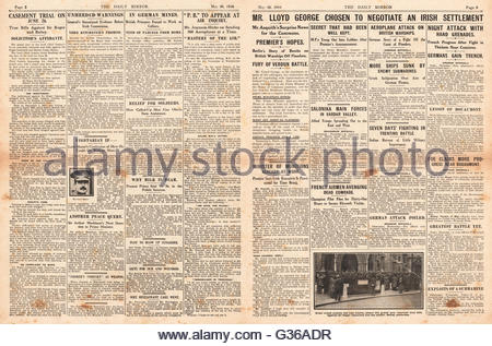 1916 Daily Mirror pages 2 & 3 Lloyd-George hopes of an Irish settlement and Battle of Verdun - Stock Photo