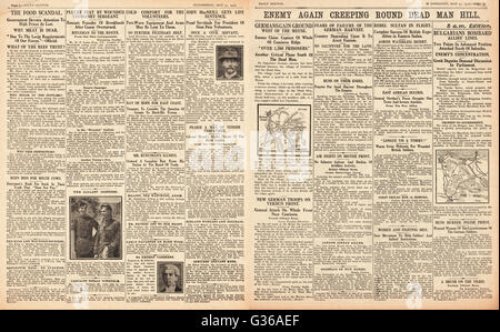 1916 Daily Sketch pages 2 & 3 German army advances at Dead Man Hill - Stock Photo