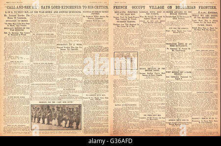 1916 Daily Sketch pages 2 & 3 French army occupies Greek village of Poroj - Stock Photo
