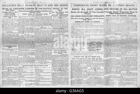 1916 Sunday Herald page 2 & 3 Battle of Jutland - Stock Photo