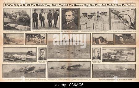 1916 Sunday Herald page 8 & 9 Battle of Jutland - Stock Photo