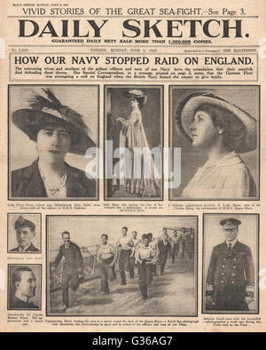 1916 Daily Sketch front page Battle of Jutland - Stock Photo