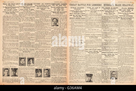 1916 Daily Sketch pages 2 & 3 Battle for Lemberg - Stock Photo