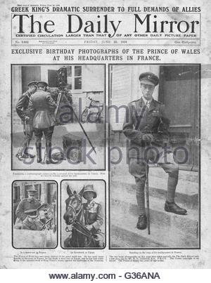 1916 Daily Mirror front page Prince of Wales in France - Stock Photo