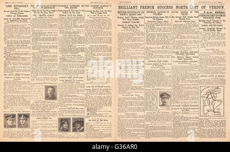 1916 Daily Sketch pages 2 & 3 French army success at Verdun - Stock Photo
