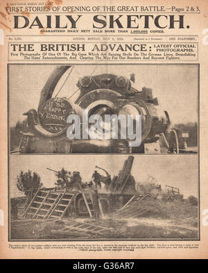 1916 Daily Sketch front page Battle of the Somme - Stock Photo