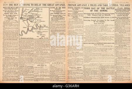1916 Daily Sketch pages 2 & 3 Battle of the Somme - Stock Photo