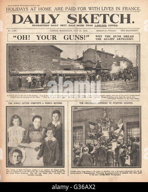 1916 Daily Sketch front page French artillery gun for the Somme - Stock Photo