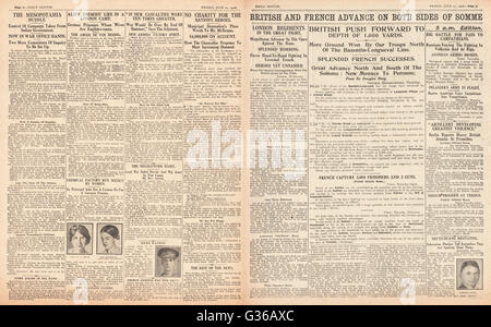 1916 Daily Sketch pages 2 & 3 British and French advance on the Somme - Stock Photo