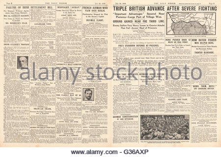 1916 Daily Mirror pages 2 & 3 Battle of the Somme and failure of the Irish Settlement Bill - Stock Photo