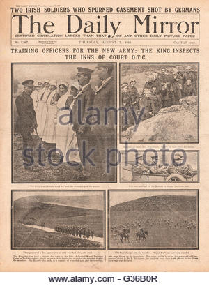 1916 Daily Mirror front page King George V visits Inns of Court Officers Training Corps - Stock Photo