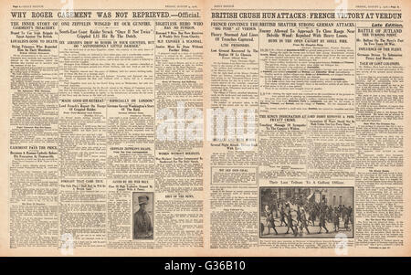 1916 Daily Sketch pages 2 & 3 French victory at Verdun, zeppelin raid over Eastern counties, and execution of Roger - Stock Photo