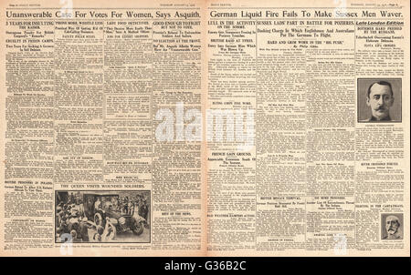 1916  Daily Sketch pages 2 & 3 German army use flamethrowers - Stock Photo