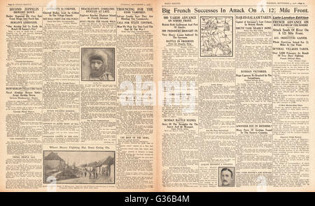 1916 Daily Sketch pages 2 & 3 French Army advance on the Somme and surrender of Dar-es-Salaam - Stock Photo