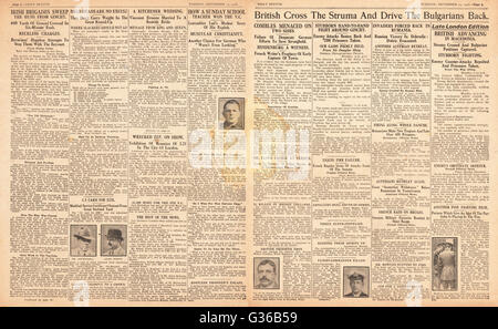 1916 Daily Sketch pages 2 & 3 British Army advance in the Balkans - Stock Photo