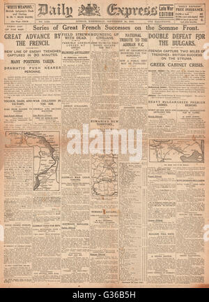 1916 Daily Express front page French army advance on the Somme - Stock Photo