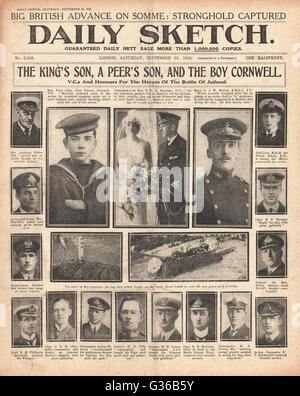 1916 Daily Sketch front page VCs and honours for Jutland heroes - Stock Photo
