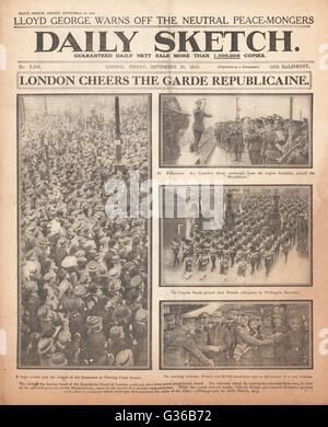 1916 Daily Sketch front page French band of the Republican Guard vists London - Stock Photo