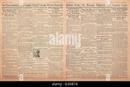 1916 Daily Sketch pages 2 & 3  British advance at Thiepval - Stock Photo